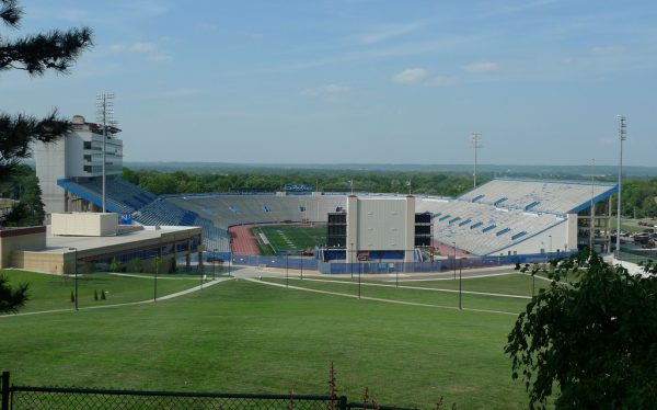 Memorial Stadium, home of the Kansas Jayhawks