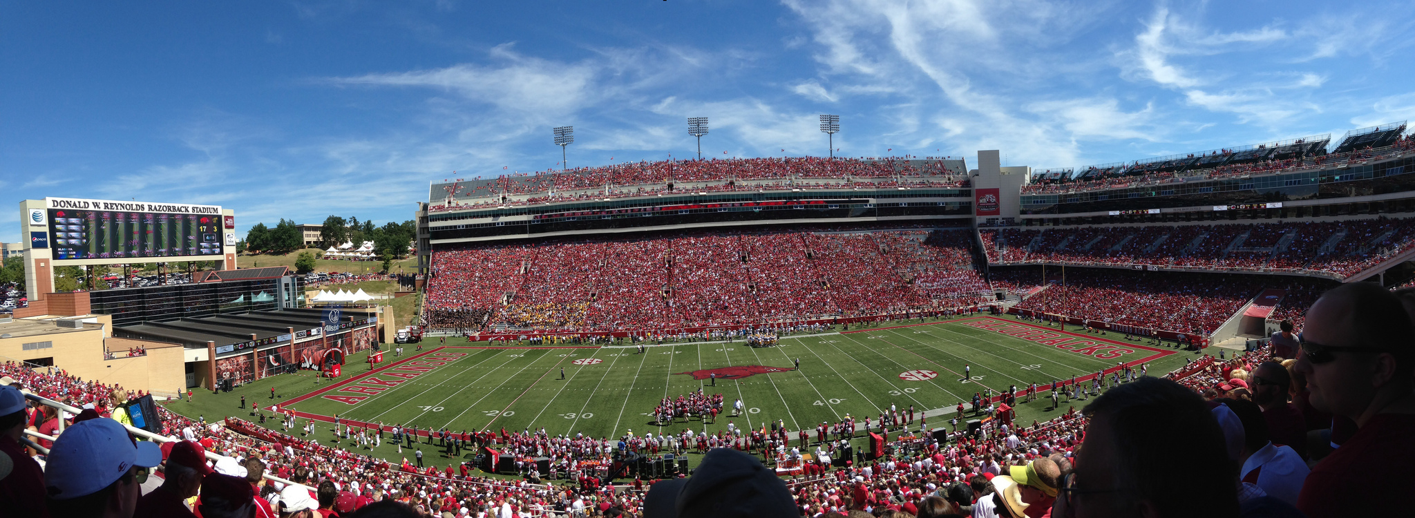 Razorback Stadium, home of the Arkansas Razorbacks