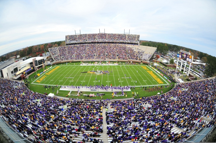 Dowdy Ficklen Stadium, home of the ECU Pirates