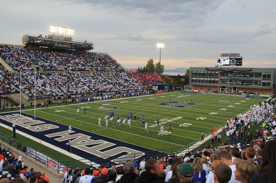 Maverik Stadium, home of the Utah State Aggies