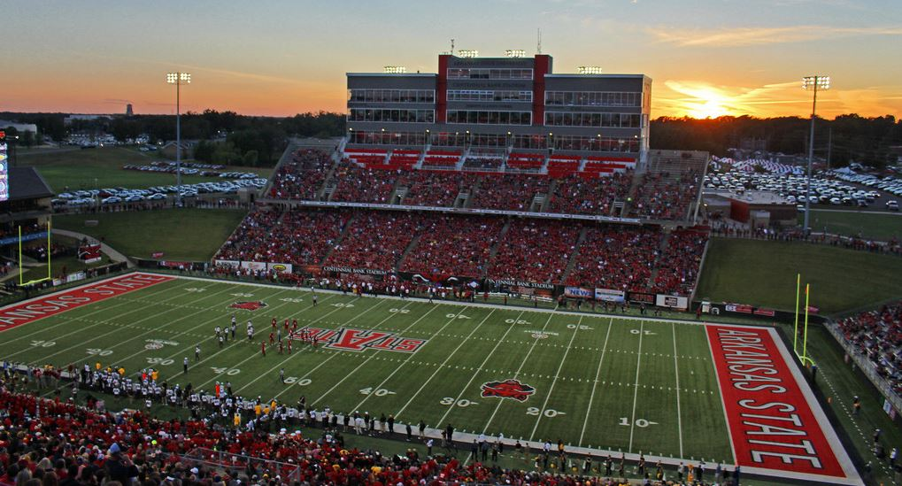 Centennial Bank Stadium, home of the Arkansas State Red Wolves