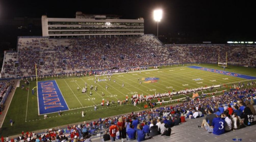 Memorial Stadium, home of the Kansas Jayhawks