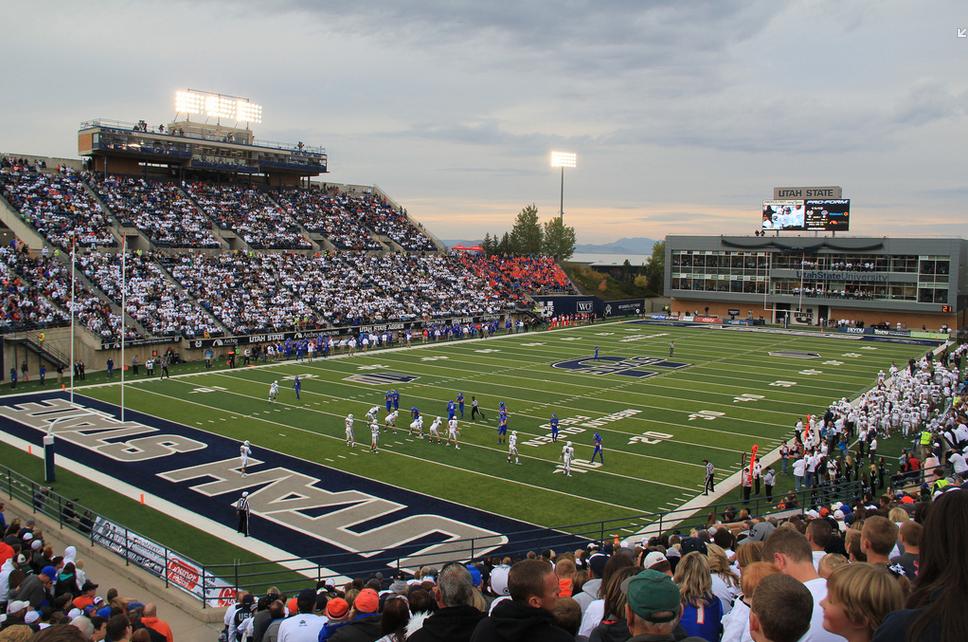 Maverik Stadium, home of the Utah State Aggies